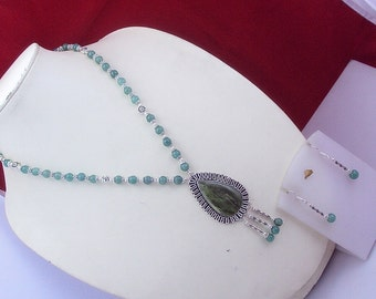 free shipping F-109  Moss Agate -Green Onyx .925 Silver  Beaded Necklace Jewelry