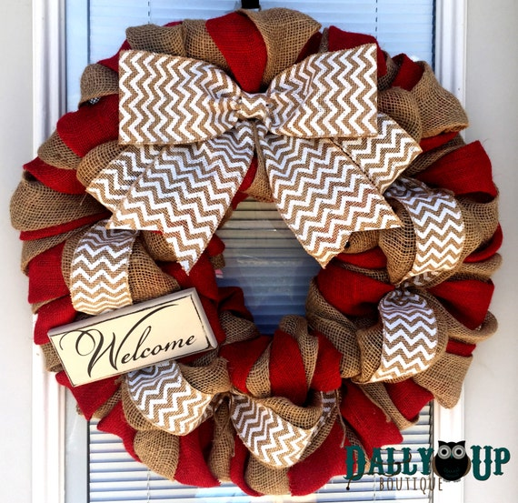 Burlap wreath christmas wreath natural and red white for How to decorate a burlap wreath for christmas