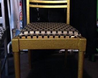 Gold Glitter Skull Chair