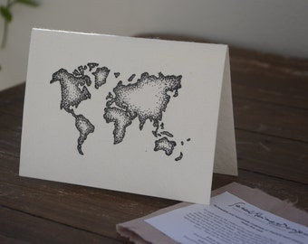 World Map Illustration Greeting Card- Eco Friendly- Handmade Mulberry Paper- blank inside