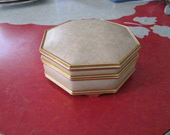 Vintage Hexagon Jewelry Box With Mirror