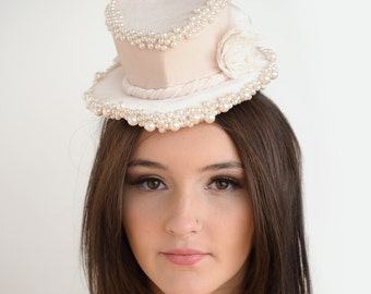 Wedding Heart Shaped Mini Top Hat/Fascinator Cream/Ivory with Pearls and Flowers