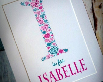 Beautiful Personalised Name and Initial New Birth/Christening Gift/Naming Ceremony/Birthday Print Framed