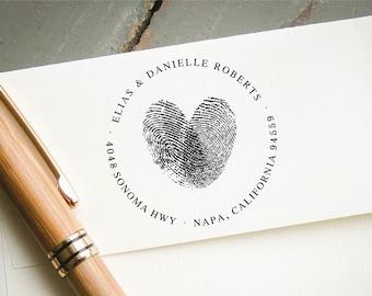 Fingerprint Heart Address Stamp, Round Self-Inking Return Address Stamp, Personalized Stamp, Custom Stamp, Wedding Stamp, Bridal Shower