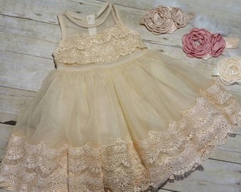 Flower Girl dress,  Wedding dress, girls party dress, easter dress, lace dress, girls tutu dress,rustic  wedding Flower girl  ...