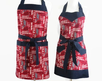 His & Her Patriotic Matching Aprons, 4th of July Apron, Personalized Couple Apron, New Home Gift, Housewarming, Wedding, Bridal Shower Gift