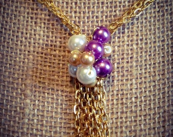 Pearl cluster drop necklace