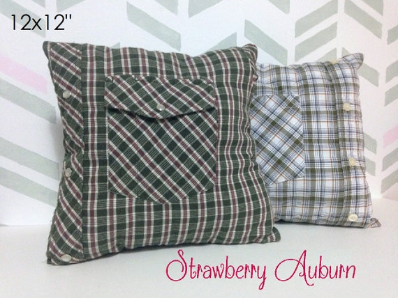 Button Down Shirt Memory Pillow Covers * Comes with Pillow form inside! * - Men's Shirt Pillows - Tshirt pillow