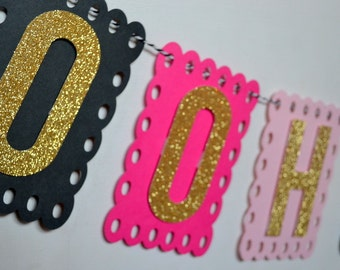 Ooh La La Lingerie Bridal Shower Bachelorette Party Banner Hot Pink Blush Black and Gold Glitter