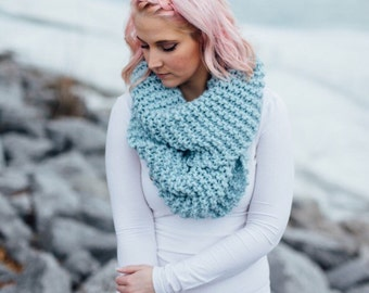SALE Extra large cozy ice blue knit infinity circle scarf