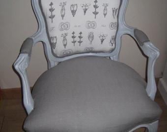 Chair Bergère Louis XV restyled way romantic