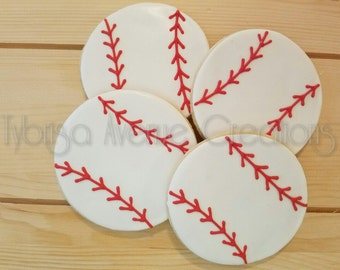 12 Baseball Sugar Cookies - Sports Theme Party Dessert - Baseball Team Favors - Baseball Party Dessert