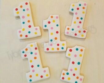 12 First Birthday Polka Dot Sugar Cookies - Number Sugar Cookies - First Birthday Party Favors - 1-9 Numeral Sugar Cookies