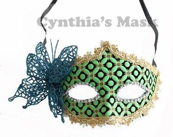 Teal Venetian Masquerade Mask w/ Rhinestones for Party Prom Mardi Gras  SKU: BZ619B  (6A31)