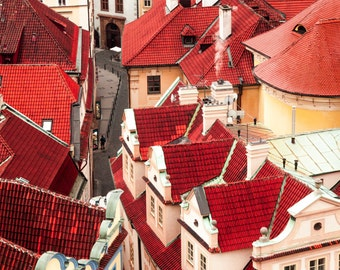 """Prague Photography, Prague Architecture, """"Sea of Red"""""""
