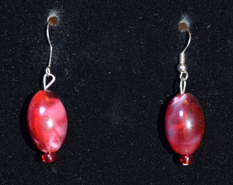 Red glass oval earrings