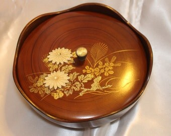Japanese Covered Bowl Bento box lunch box vintage Asian Brown Lotus Flowers and Sparkle