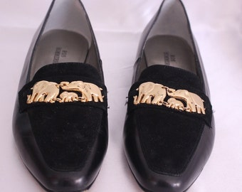Vintage Gold Elephant and Black Italian Leather Ros Hommerson Decorated Shoes Button 6 1/2 M