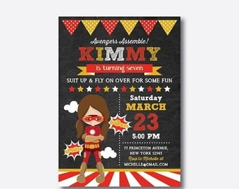 Superhero Birthday Invitation, Superhero Invitation, Superhero Girl Invitation, Superhero Party Invitation, Personalized,Chalkboard(CKB.412
