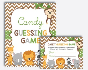 Instant Download, Safari Baby Shower Candy Guessing Game, Guess How Many Candies, M&M Game, Safari Baby Shower Games, Jungle Safari (SBS.31)
