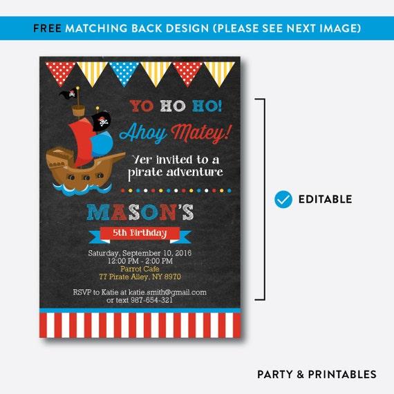 instant download editable pirate ship birthday invitation, Birthday invitations