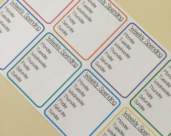 WEEKLY SPEND TRACKING Paper Planner Stickers!