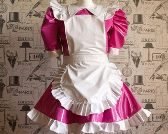 """Sissy Dress PVC Maid Dress The """"Alice Even More"""" Full of Frills and complete with Ruffled Apron"""