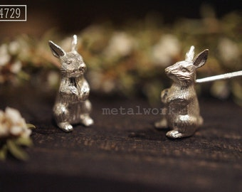 The Standing Bunnies 925 Silver Earrings (MW E6)