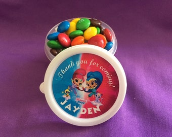 10 Personalized Shimmer & Shine Candy containers / candy cups with lids / party favors
