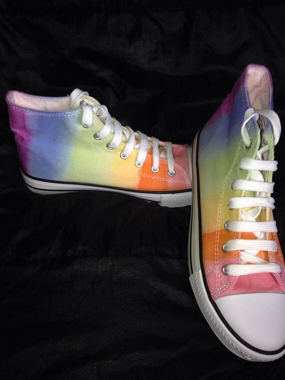 tie dye boots rainbow canvas shoes festival boots tie dye