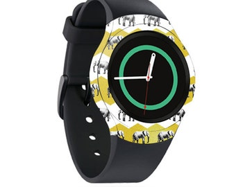 Skin Decal Wrap for Samsung Gear S2, S2 3G, Live, Neo S Smart Watch, Galaxy Gear Fit cover sticker Elephant Chevron