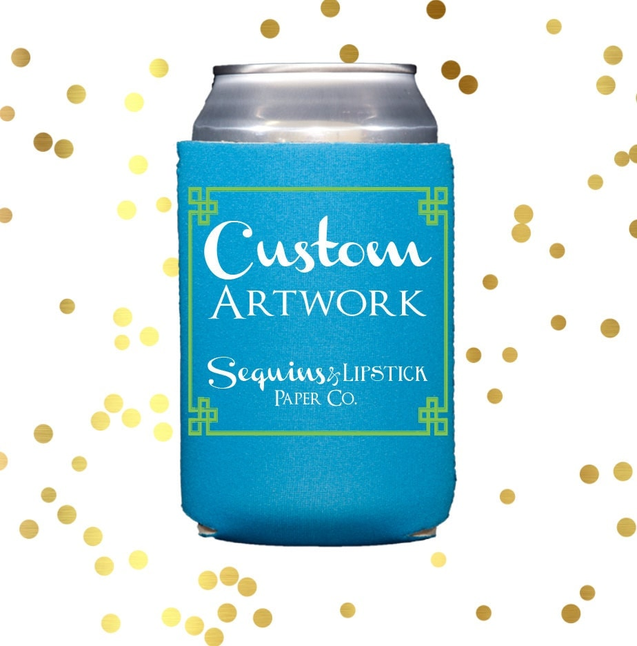 Personalized Can Coolers ~ Personalized can cooler wedding neoprene