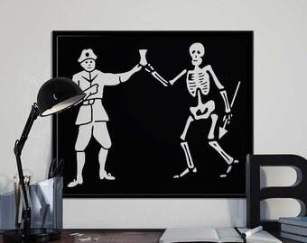 Bartholemew Roberts - Black Bart - Pirate Flag - Black Sails Alternative Pirate Art Print Poster - PRINTABLE 8x10 inches