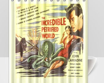 Vintage movie poster, The Incredible Petrified World, Octopus attack Shower Curtain