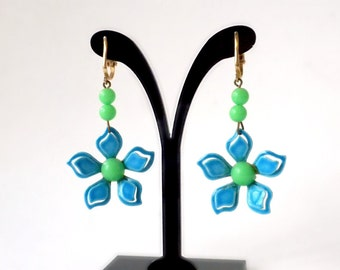 Flower Power Earrings, Long Dangle Earrings, Blue Green Earrings, Neon Blue Earrings , Lime Green Earrings, Bright Colored Tropical Jewelry