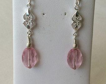 Double heart oval drop earrings