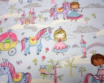 Sparkly Blue Cotton Princess and Unicorn Fabric by Timeless Treasures