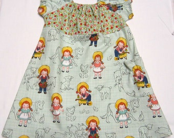 Toddler Girl Peasant Dress in Green Riley Blake Farm Girl Cotton Print in Size 2