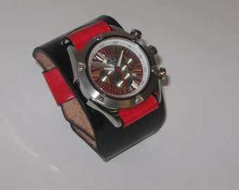 Venture leather Watch cuff Black with Red strip (Tailored Fit)