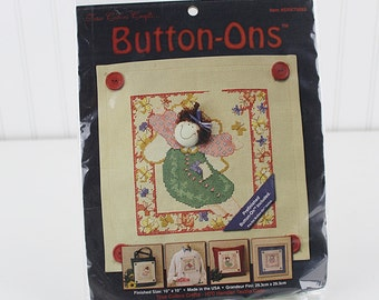 Button-Ons Free to Be Counted Cross Stitch Kit,  Prefinished Buton-On Included, K187