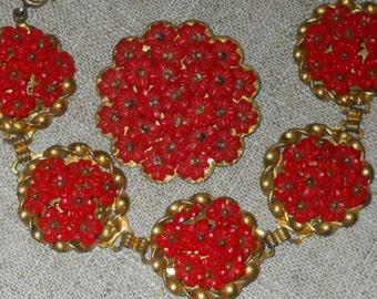 Vintage Miriam Haskell red floral bracelet and brooch set