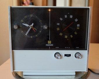 vintage large alarm clock AM FM radio midcentury mid century Milovac solid state corded Japan USA Solid State working