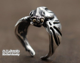 Silver Bat Vampire Ring, Gothic Bat Ring, Bat Ferocious Ring, Leathery Wing Silver Wrap Adjustable Ring, Halloween, Wholesale Available