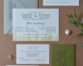 Custom Letterpress Wedding Invitation Suite, 2 Colors - Your Design