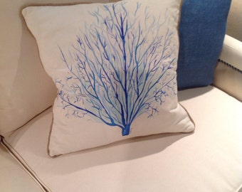Hand painted, cool coral down pillow