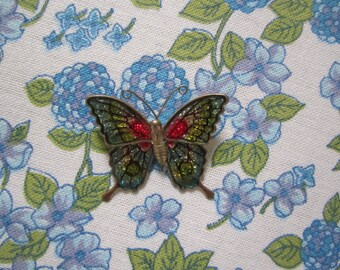 Pretty Vintage Blue and Pink Butterfly Brooch