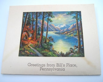 Vintage Butterfly Souvenir Novelty Gift Card Manufactured by S S Adams Co. Greeting from Bill's Place Pennsylvania