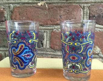 FREE SHIPPING - French Shot Glasses, Set of Eight, Retro, Mid Century