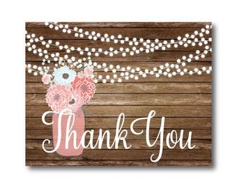 Rustic Thank You Card, Wedding Thank You Card, Folded Thank You Card, Rustic Wedding, Mason Jar Wedding Thank You, Thank You Note #CL221