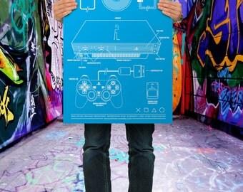 The PZ2 (PS2 Playstation 2)  Blueprint - Premium Poster Print